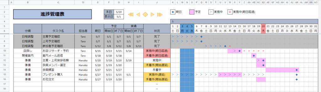 スケジュール表のサンプル